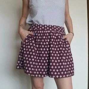 GAP Maroon Pattern Skirt with Pockets